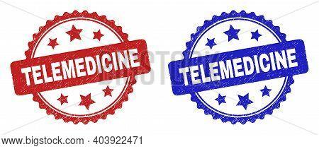 Rosette Telemedicine Watermarks. Flat Vector Distress Watermarks With Telemedicine Caption Inside Ro