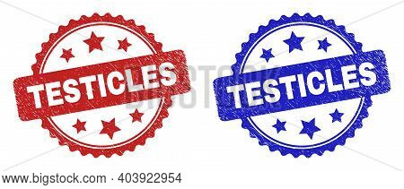 Rosette Testicles Seal Stamps. Flat Vector Distress Seal Stamps With Testicles Phrase Inside Rosette