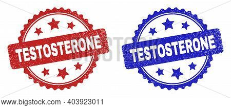 Rosette Testosterone Watermarks. Flat Vector Scratched Stamps With Testosterone Title Inside Rosette