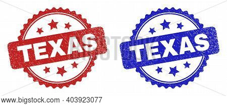 Rosette Texas Seal Stamps. Flat Vector Scratched Seal Stamps With Texas Caption Inside Rosette Shape