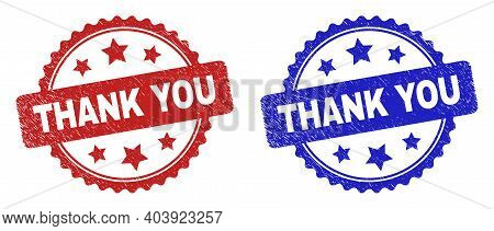 Rosette Thank You Seal Stamps. Flat Vector Scratched Seal Stamps With Thank You Text Inside Rosette