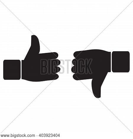 Like And Dislike Icon, Flat Design. Thumb Up Thumb Down Like Icon