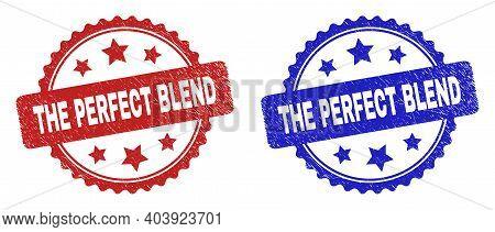 Rosette The Perfect Blend Seals. Flat Vector Distress Seals With The Perfect Blend Title Inside Rose