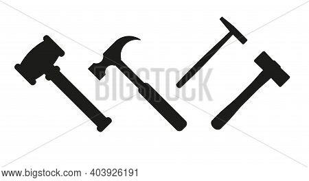 Hammer Silhouette Vector Set. Several Hammers For Various Purposes. Judge Gavel, Auction Gavel, Carp
