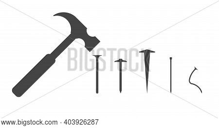 Carpenter Hammer And Several Different Types Of Nails. Bent Nail. Vector Silhouette Illustration.