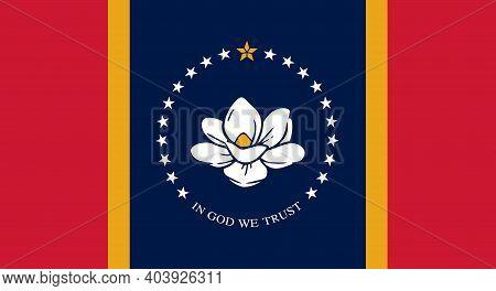 Flag Of Mississippi, New Magnolia Flag Flat Vector Illustration.