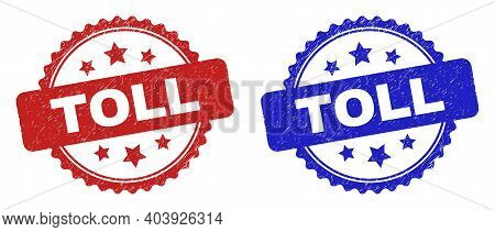 Rosette Toll Seal Stamps. Flat Vector Distress Seal Stamps With Toll Phrase Inside Rosette With Star