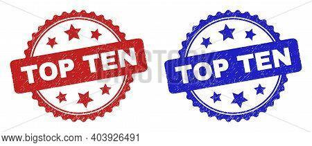 Rosette Top Ten Watermarks. Flat Vector Scratched Watermarks With Top Ten Text Inside Rosette With S