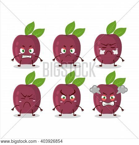 Passion Fruit Cartoon Character With Various Angry Expressions