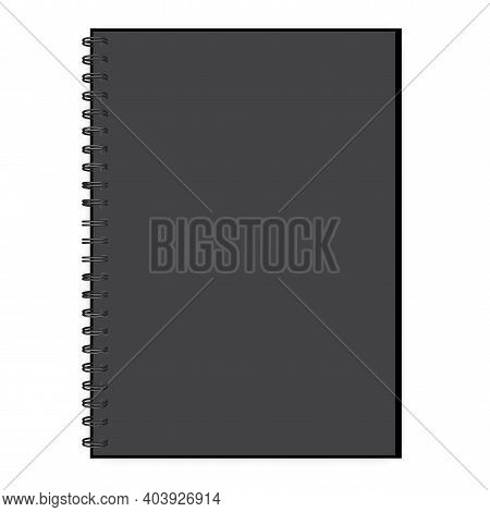 Realistic Black Notepad For Cover Design. Black Notepad. Business Card. Stock Image. Eps 10.