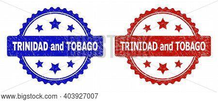 Rosette Trinidad And Tobago Watermarks. Flat Vector Grunge Watermarks With Trinidad And Tobago Phras