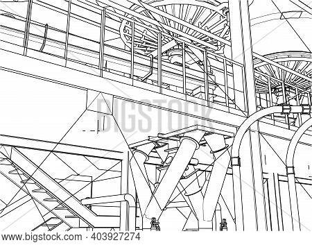 Industrial Refinery Equipments Rendering Of 3d Vector Illustration