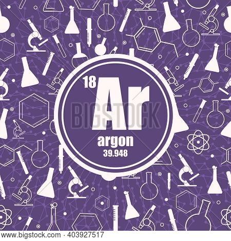 Argon Chemical Element. Sign With Atomic Number And Atomic Weight. Chemical Element Of Periodic Tabl