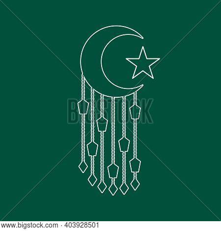 Eid Al Adha Design With Half Moon And Hanged Lanterns. Happy Sacrifice Feast Holiday. Thin Line Styl