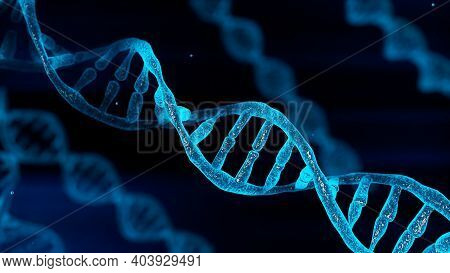 Blue Chromosome Dna And Gradually Glowing Flicker Light Matter Chemical When Camera Moving Closeup.