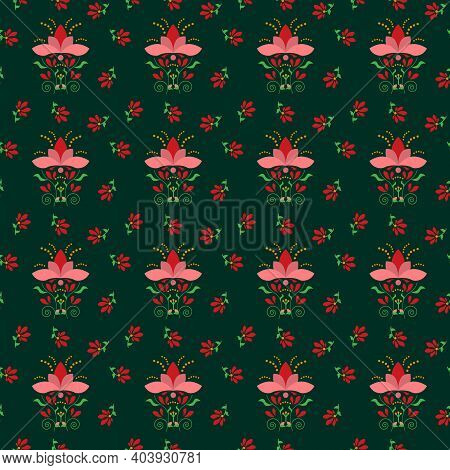 Folklore Patter With Flowers On A Green Background. Fantasy Vector Drawing. For Fabric, Scrapbooking