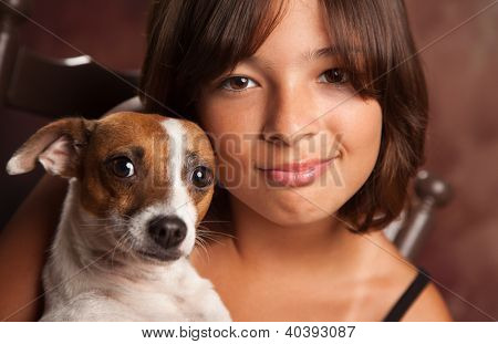 Pretty Hispanic Girl and Her Jack Russell Terrier Puppy Studio Portrait.