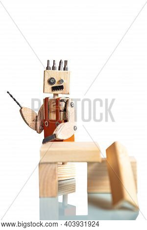 Funny Miniature Craftsman, Built From Tools And Materials, Concept Carpenter Or Diy Or Home Craftsma