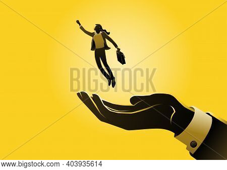 An Illustration Of Businesswoman Flying Out Of Hand - Concept Business Opportunity