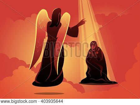 An Illustration Of Angel Visits Mary. The Annunciation To The Blessed Mary. Biblical Series