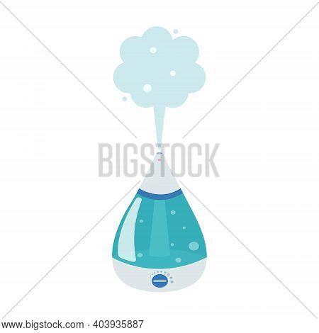Humidifier, Home Or Office Equipment. Vector Flat Image In Cartoon Style On A White Background