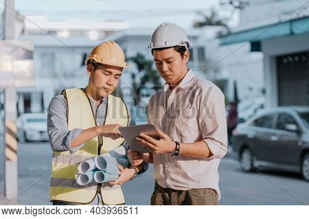 Architecture Or Engineerman And Businessman Survey And Check At Site Construction With Tablet And Th