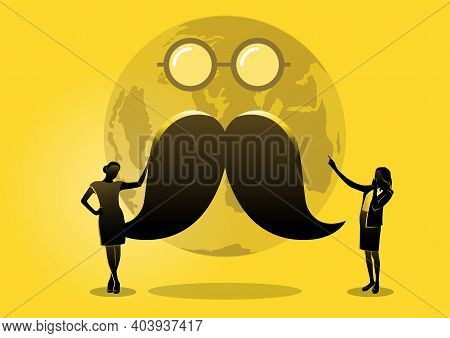 Prostate Cancer Awareness Month. Men's Health Concept. Moustaches And Glasses On Yellow Background