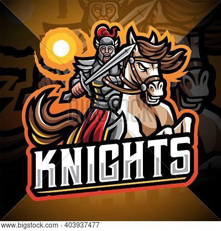 Knights With Horse Jump Esport Mascot Logo