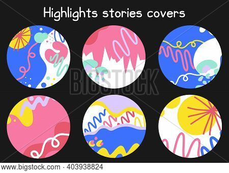 Abstract Doodle Social Highlights. Modern Round Template Set For Social Media Highlight Covers. Hand