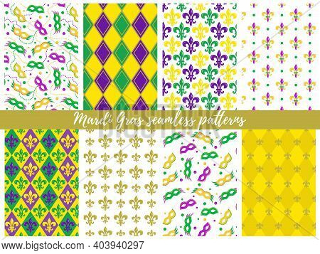 Set Of Mardi Gras Seamless Patterns;  Vector Backgrounds For Fat Tuesday.