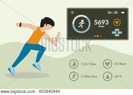 Smartwatch App And Fitness Tracker Technology Concept. Active People Characters Running With Steps M