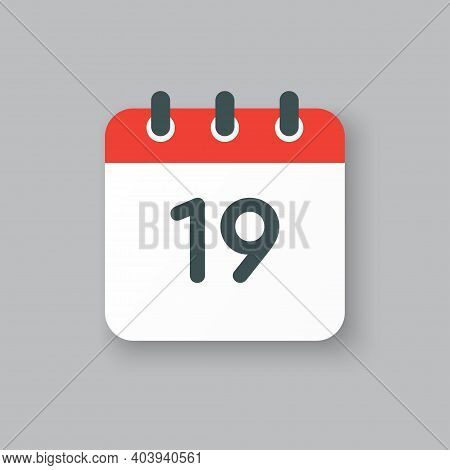 Vector Icon Calendar Day Number 19, 19th Day Month
