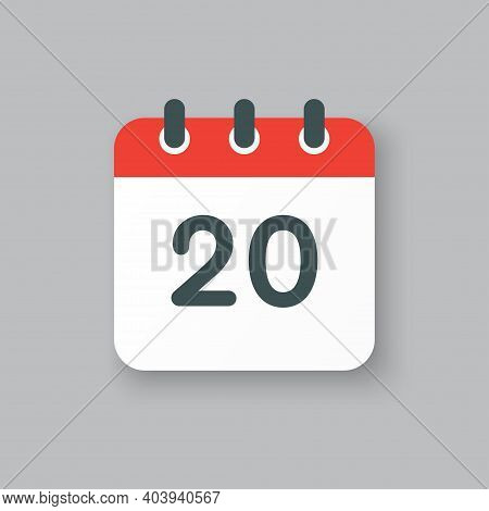 Vector Icon Calendar Day Number 20, 20th Day Month