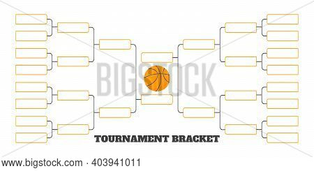 16 Team Tournament Bracket Championship Template Flat Style Design Vector Illustration Isolated On W