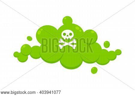 Smelling Green Cartoon Fart Cloud Flat Style Design Vector Illustration With Crossbone Skull. Bad St