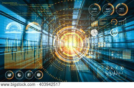 Data Analytic Concept With High Speed Motion Digital Transfer Background Showing Fast Big Data Proce