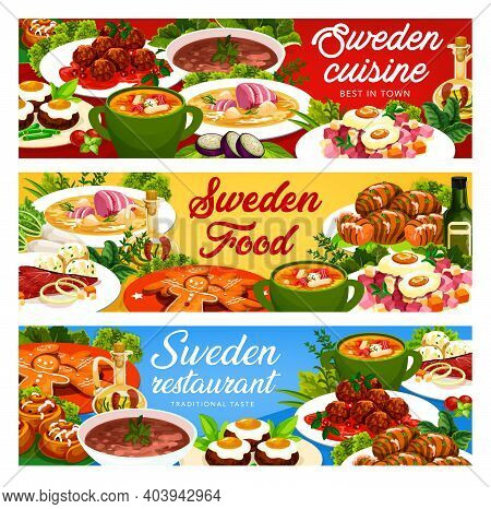 Sweden Food Vector Beef Soup Elebsad, Gravlax And Ginger Cookie With Cinnamon Buns. Salmon And Pea S