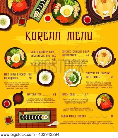 Korean Cuisine Vector Shaved Ice Dessert With Fruits, Rice Bibimbap With Vegetables And Egg, Sushi R