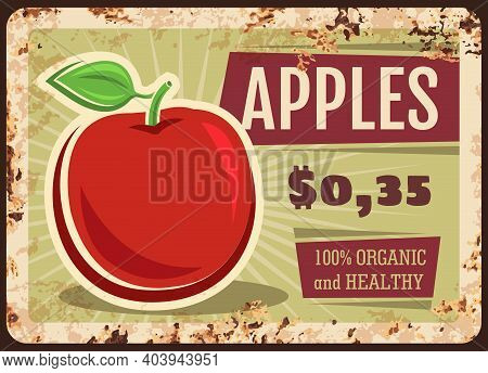 Apples Rusty Metal Plate, Vector Fresh Fruit, Vintage Rust Tin Sign, Price Tag For Market Or Store.