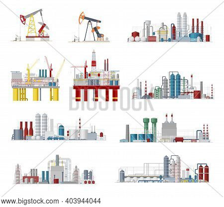 Industrial Buildings And Factory Facilities Vector Icons. Plants, Chemical Estate, Gas Pipelines, Oi