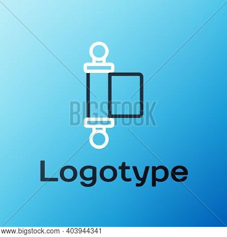 Line Decree, Paper, Parchment, Scroll Icon Icon Isolated On Blue Background. Chinese Scroll. Colorfu