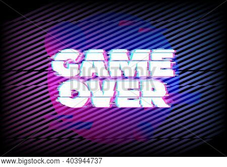 Glitch Effect For Game Over Page. Abstract Vector Background With Blue And Purple Neon Glitched Diag