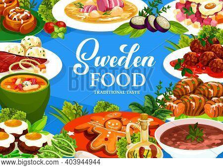 Sweden Cuisine Vector Gravlax, Ginger Cookie And Cinnamon Buns, Salmon Soup, Pea Soup, Pittipanka, M