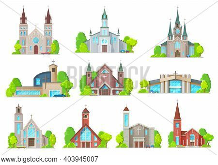 Catholic Church Buildings Vector Icons. Cathedral, Chapels And Monastery Facades. Medieval And Moder