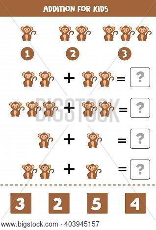 Addition Worksheet With Cartoon Monkey. Math Game.