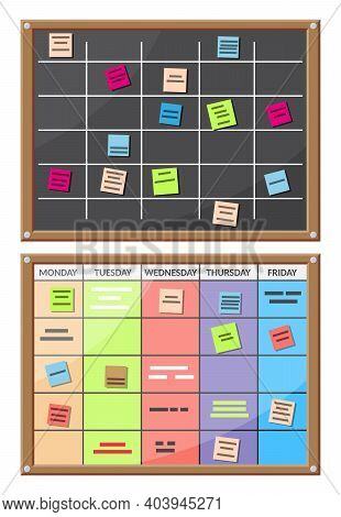 Bulletin Board Full Of Tasks On Sticky Note Cards. Development, Team Work, Agenda, Schedule, To Do L
