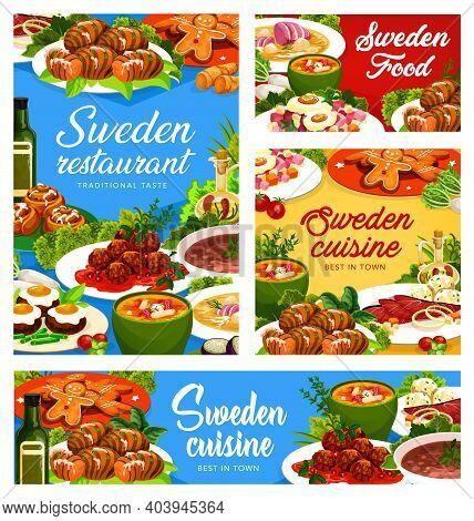 Sweden Dishes Vector Beefsteak A La Lindstrom, Beef Soup Elebsad And Salmon Soup. Pittipanka, Meatba