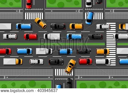 Traffic Jam Vector City Freeway With Cars Driving On Road Top View. Rush Hour In Town, Vehicles On T