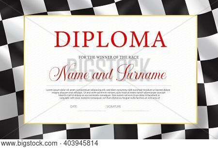 Race Winner Diploma, Vector Certificate Template. Racing Award Border Design With Black And White Ch