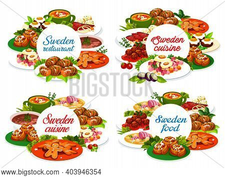 Sweden Food Vector Round Banners Salmonor Pea Soup, Pittipanka And Meatballs Kottbulars. Potato Hass